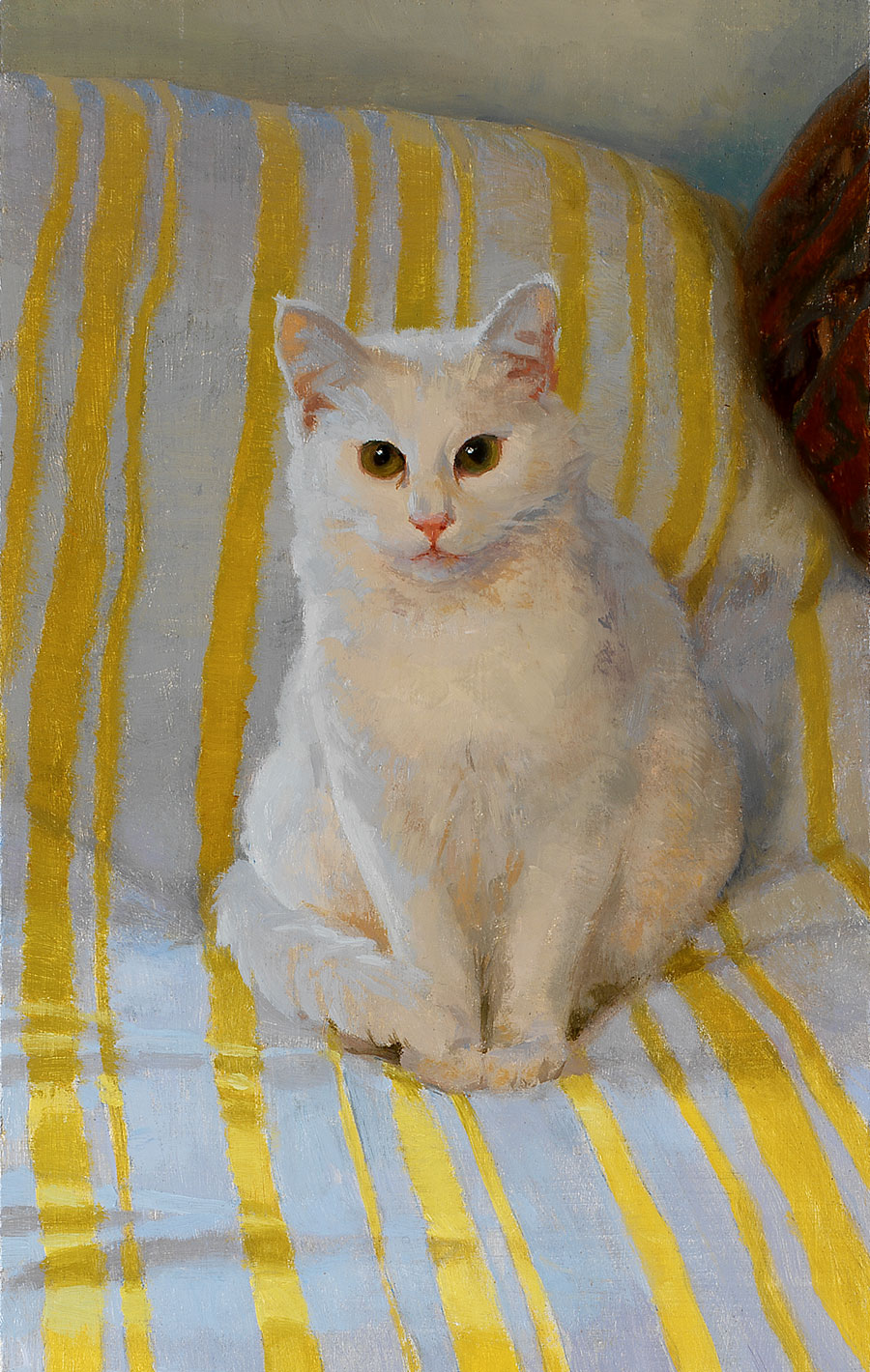 White cat and yellow stripes